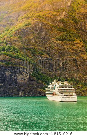 Cruise Ship Ferryboat On Norwegian Fjord