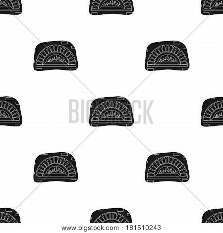 Wood-fired oven icon in black style isolated on white background. Pizza and pizzeria pattern vector illustration.