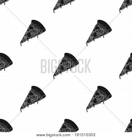 Slice of pizza icon in black style isolated on white background. Pizza and pizzeria pattern vector illustration.