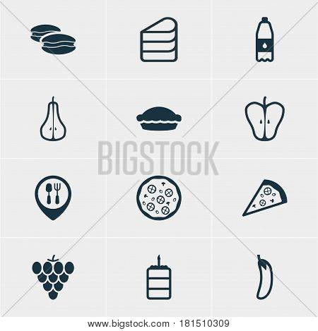 Vector Illustration Of 12 Eating Icons. Editable Pack Of Jonagold, Pastry, Restaurant And Other Elements.