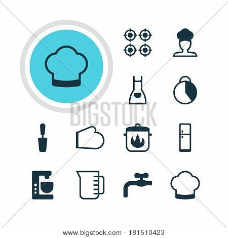 Vector Illustration Of 12 Kitchenware Icons. Editable Pack Of Stewpot, Faucet, Carafe And Other Elements.