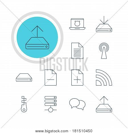 Vector Illustration Of 12 Network Icons. Editable Pack Of Note, Information Load, Fastener And Other Elements.