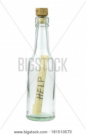 Message in a bottle isolated on white background.