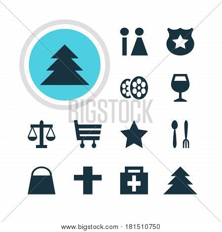 Vector Illustration Of 12 Location Icons. Editable Pack Of Film, Cop, Drugstore And Other Elements.