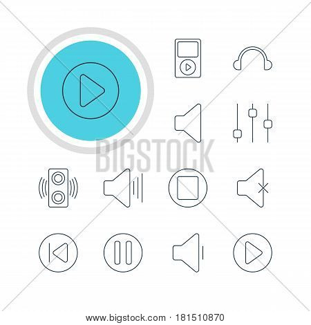 Vector Illustration Of 12 Melody Icons. Editable Pack Of Soundless, Stabilizer, Preceding And Other Elements.