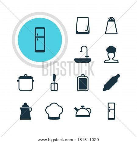 Vector Illustration Of 12 Cooking Icons. Editable Pack Of Cook, Pepper Container, Glass Cup And Other Elements.