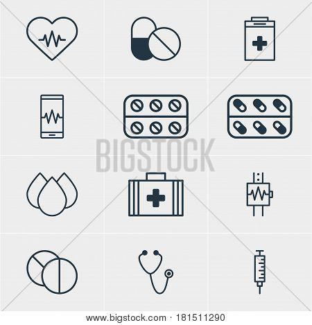 Vector Illustration Of 12 Medicine Icons. Editable Pack Of Trickle, Pulse, Medicine And Other Elements.