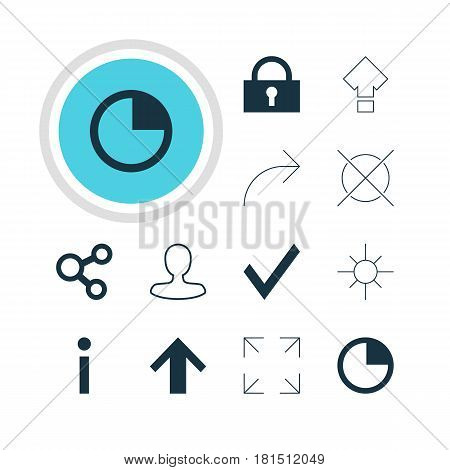 Vector Illustration Of 12 User Icons. Editable Pack Of Wide Monitor, Displacement, Stopwatch And Other Elements.