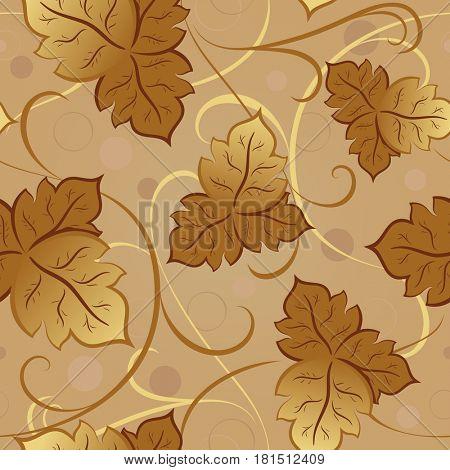 Seamless yellow fall leaves pattern.