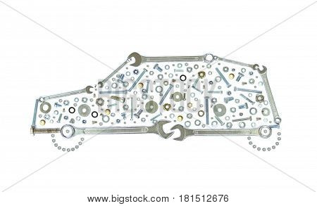 Wrenches, bolts, nuts, screws and washers . Conceptual image of like a car on white background