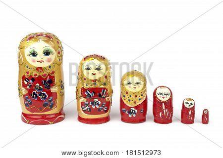 Russian Traditional Dolls Matrioshka - Matryoshka or Babushka on white background