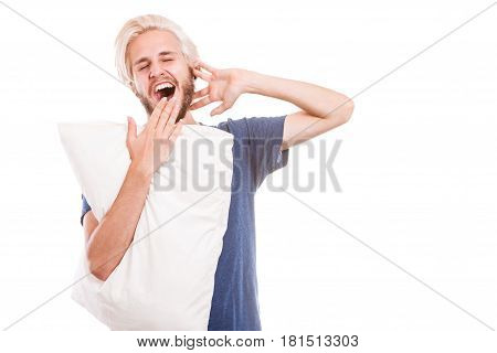 Sleepy Young Man Holding White Pillow
