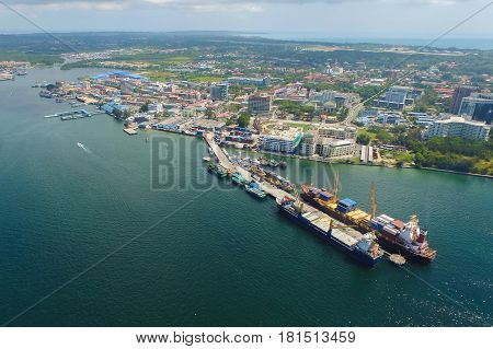 Aerial view of the Labuan Pearl of Borneo,Malaysia.Labuan is an international financial centre & Malaysia only deep water anchorage.