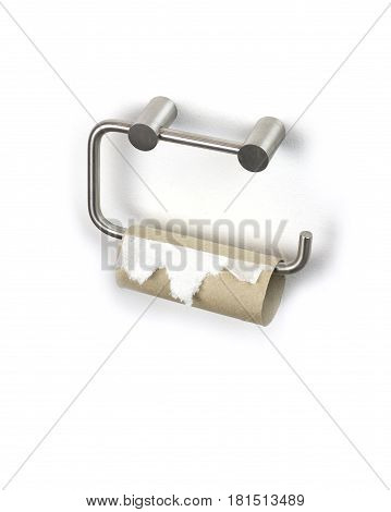 Finished toilet paper on white background .