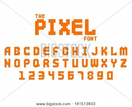 Pixel retro font video computer game design 8 bit letters and numbers isolated on white background. Vector abc typeface digital creative alphabet. Website modern vintage creative graphic.