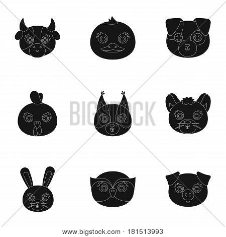 Wild and domestic animals. A set of pictures about animals. Animal muzzle icon in set collection on black style vector symbol stock web illustration.