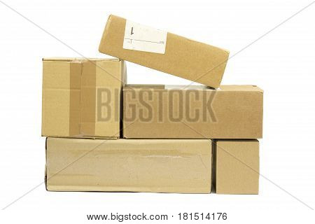 Brown post packages isolated on white background.