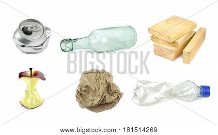 Garbage separation recycling on white background .