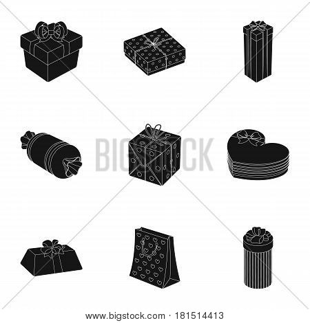 A set of pictures gifts. Gifts for different holidays, surprises. Gift packaging.Gifts and cert icon in set collection on black style vector symbol stock web illustration.