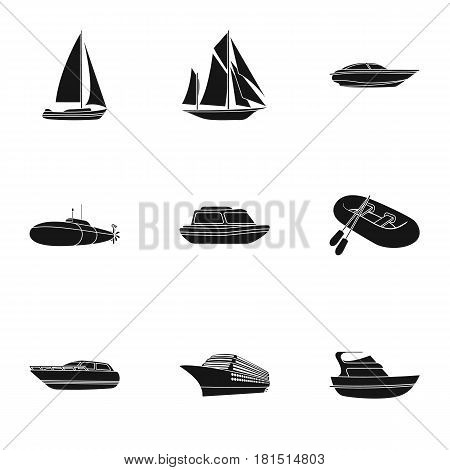 Sea transport, boats, ships. To transport people, thunderstorms. Ship and water transport icon in set collection on black style vector symbol stock web illustration.