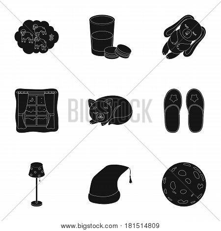 A set of pictures on a theme a dream, rest. Bed accessories for rest.Sleep and rest icon in set collection on black style vector symbol stock web illustration.