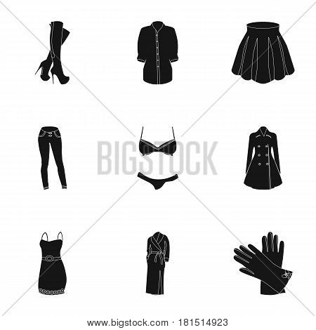 Pictures about types of women's clothing. Outerwear and underwear for women and girls. Woman clothes icon in set collection on black style vector symbol stock web illustration.