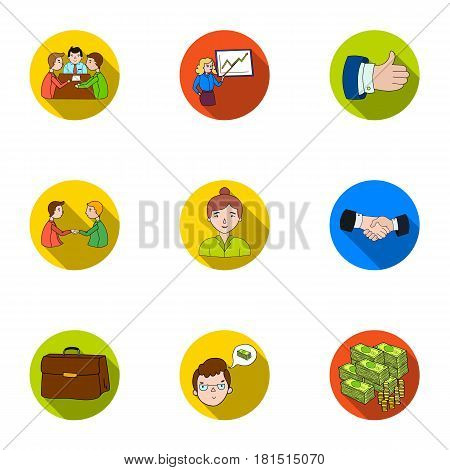A set of pictures about the transaction, work, office. Office center, analytics.Business conference and ntgotiations icon in set collection on flat style vector symbol stock web illustration.