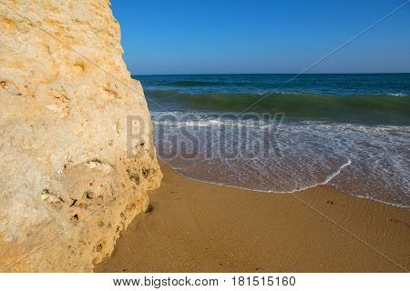 beautiful beach at Albufeira, Algarve, the south of portugal poster
