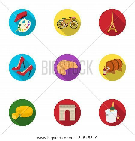 Attractions in France. Things to learn about France. France country icon in set collection on flat style vector symbol stock web illustration.