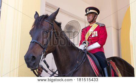 ROYAL PALACE KUALA LUMPUR MALAYSIA- MAR 23: Royal guard in new uniform at the Royal Palace Istana Negara (national palace) of Malaysia in KL in 23 March 2017.