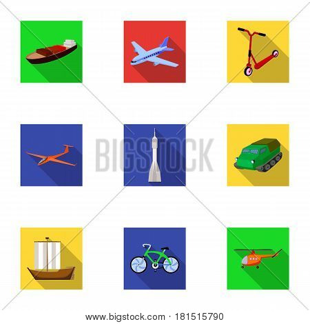 Set of pictures about types of transport. Transportation of people, cargo. Ground, underwater, air transport. Transport icon in set collection on flat style vector symbol stock web illustration.