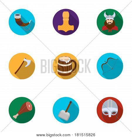 Ancient warriors of the Vikings on the ship. Outfit and symbols of the Vikings.Vikings icon in set collection on flat style vector symbol stock web illustration.