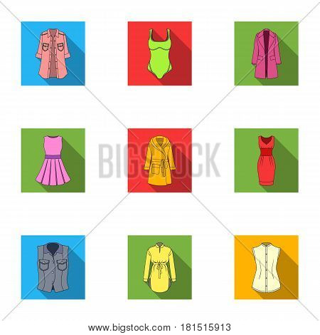 Collection of icons of womens clothing. Various women's clothes for work, walking, sports. Women clothing icon in set collection on flat style vector symbol stock web illustration.