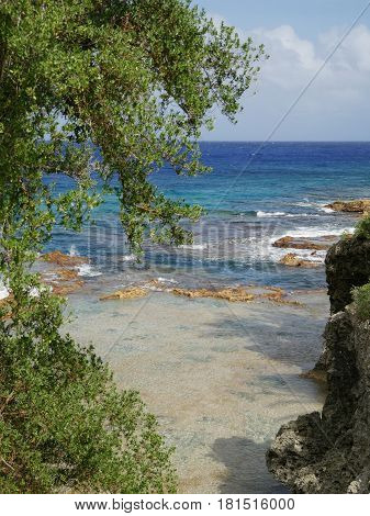 Romantic coves with pristine blue waters, Rota, Northern Mariana Islands