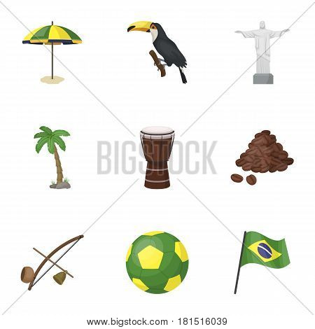 set of icons on the subject of Brazil. Brazilian national attractions. Brazil country Aicon in set collection on cartoon style vector symbol stock web illustration.