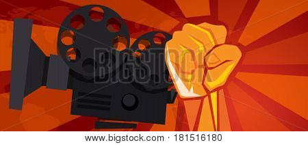 movie cinema entertainment rebel political hand fist revolution symbol retro communism propaganda poster style vector