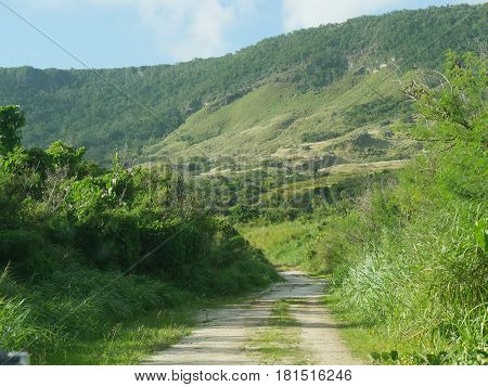 Lush green of Savannah Mountain, Rota Driving through the rugged roads on the south side of Savannah Mountain