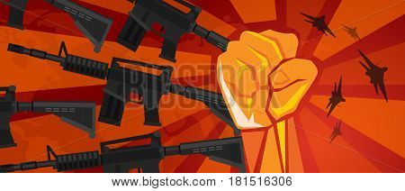 arm military revolution fist hand symbol retro communism propaganda poster style vector