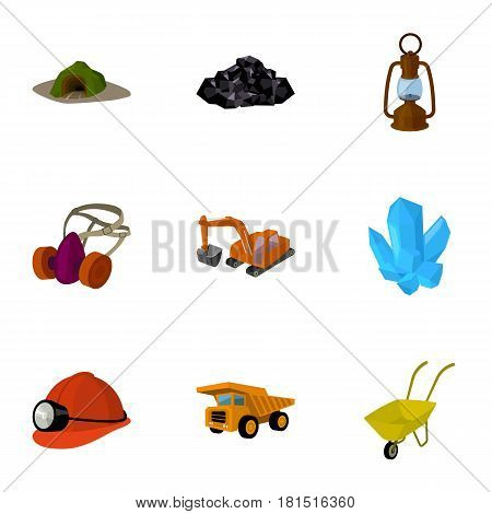 Set of icons about the mine. The extraction of coal, minerals, protection of the miners. Processing of coal.Mine industral icon in set collection on cartoon style vector symbol stock web illustration.