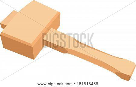 A large wooden hammer for carpentry. Vector illustration.