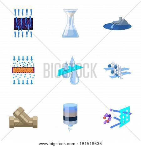 Set of icons on the theme of water. Water is the most important in the world. water filtration icon in set collection on cartoon style vector symbol stock web illustration.