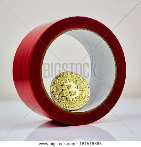 Bitcoin Inside Red Glue Tape