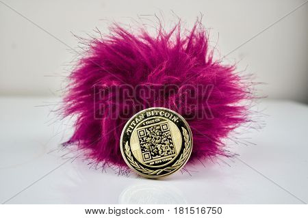 Gold Physical Titan Bitcoin With Hairy Pink Ball