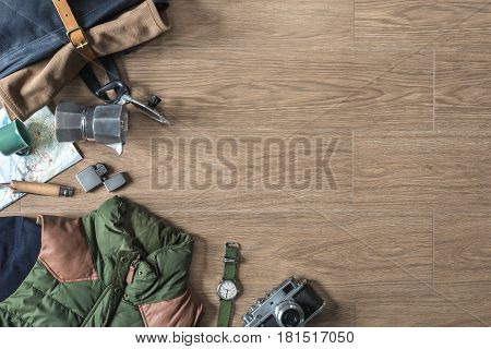 Top View Of Autumn/winter Travel Stuff On Wood Background With Copyspace