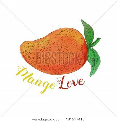 Mandala style illustration of a mango a juicy tropical stone fruit drupe belonging to the genus Mangifera set on isolated white background with the word text Mango Love done in watercolor.