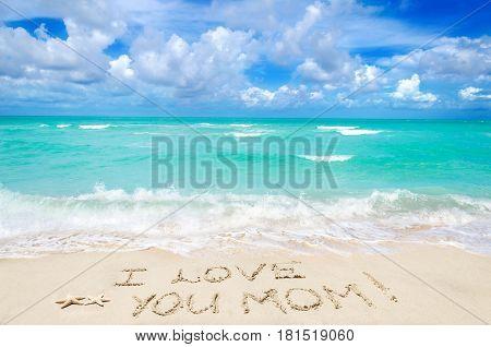 Mother's day background on the sandy beach near ocean Miami beach Florida