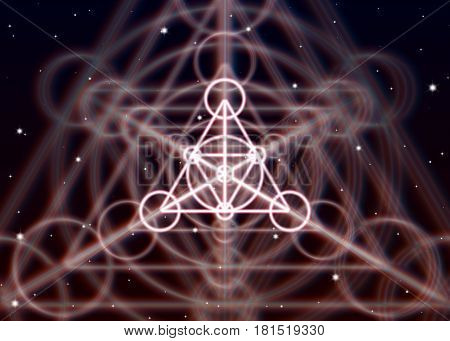 Magic triangle symbol spreads the mystic energy in spiritual space