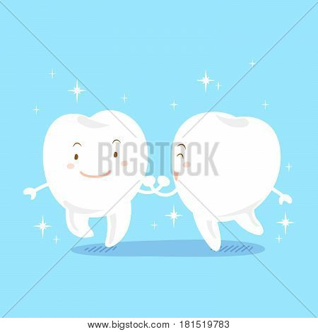cute cartoon tooth smile with whiten on blue background