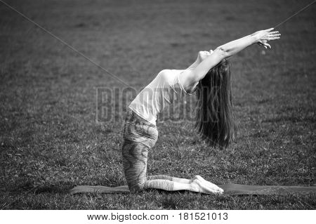 Young woman doing yoga in morning park. Ustrasana, camel pose variant. Healthy lifestyle outdoor conception. Black and white shot.
