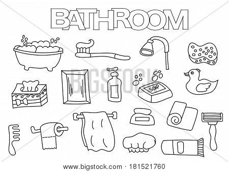 Bathroom elements hand drawn set. Coloring book template.  Outline doodle elements vector illustration. Kids game page.